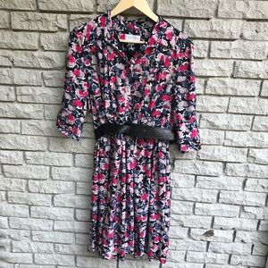 Jessica Simpson Blue/Pink Floral FitFlare Dress 10